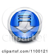 Clipart 3d Blue And Chrome Download Icon Button Royalty Free Vector Illustration