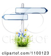 Clipart 3d Arrow Street Signs Posted In A Patch Of Flowers Royalty Free Vector Illustration by Oligo