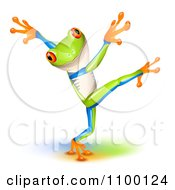 Clipart Cute Tree Frog Dancing Royalty Free Vector Illustration by Oligo