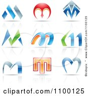 Colorful Letter M Icons With Reflections