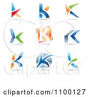 Clipart Colorful Letter K Icons With Reflections Royalty Free Vector Illustration