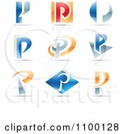 Clipart Colorful Letter P Icons With Reflections Royalty Free Vector Illustration
