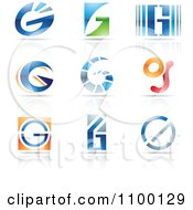 Clipart Colorful Letter G Icons With Reflections Royalty Free Vector Illustration