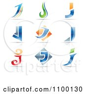 Clipart Colorful Letter J Icons With Reflections Royalty Free Vector Illustration