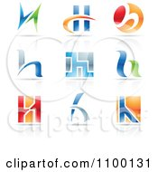 Clipart Colorful Letter H Icons With Reflections Royalty Free Vector Illustration