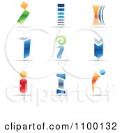 Clipart Colorful Letter I Icons With Reflections Royalty Free Vector Illustration