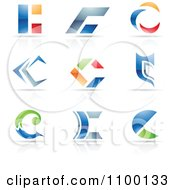 Clipart Colorful Letter C Icons With Reflections Royalty Free Vector Illustration