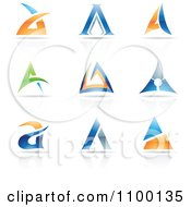 Clipart Colorful Letter A Icons With Reflections Royalty Free Vector Illustration