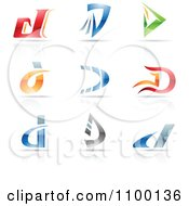 Clipart Colorful Letter D Icons With Reflections Royalty Free Vector Illustration