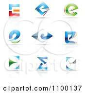 Clipart Colorful Letter E Icons With Reflections Royalty Free Vector Illustration