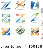 Clipart Colorful Letter Z Icons With Reflections Royalty Free Vector Illustration