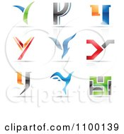 Clipart Colorful Letter Y Icons With Reflections Royalty Free Vector Illustration