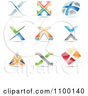 Clipart Colorful Letter X Icons With Reflections Royalty Free Vector Illustration