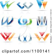 Clipart Colorful Letter W Icons With Reflections Royalty Free Vector Illustration