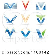 Clipart Colorful Letter V Icons With Reflections Royalty Free Vector Illustration