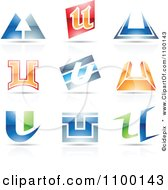 Clipart Colorful Letter U Icons With Reflections Royalty Free Vector Illustration