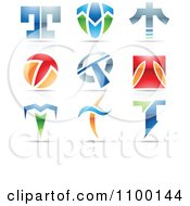 Clipart Colorful Letter T Icons With Reflections Royalty Free Vector Illustration