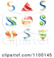 Colorful Letter S Icons With Reflections