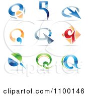 Clipart Colorful Letter Q Icons With Reflections Royalty Free Vector Illustration by cidepix