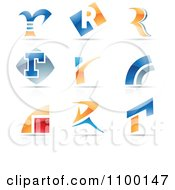 Clipart Colorful Letter R Icons With Reflections Royalty Free Vector Illustration