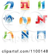 Clipart Colorful Letter N Icons With Reflections Royalty Free Vector Illustration