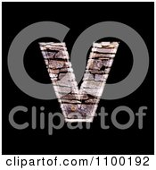 Clipart 3d Lowercase Letter V Made Of Stone Wall Texture Royalty Free CGI Illustration