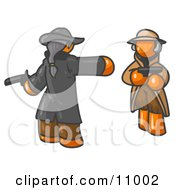Orange Man Challenging Another Orange Man To A Duel With Pistils Clipart Illustration by Leo Blanchette