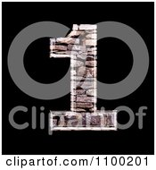 Clipart 3d Number 1 Made Of Stone Wall Texture Royalty Free CGI Illustration