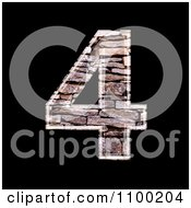 Clipart 3d Number 4 Made Of Stone Wall Texture Royalty Free CGI Illustration