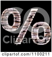 3d Percent Symbol Made Of Stone Wall Texture