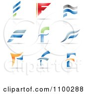 Clipart Colorful Letter F Icons With Reflections Royalty Free Vector Illustration