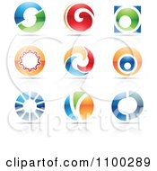 Clipart Colorful Letter O Icons With Reflections Royalty Free Vector Illustration by cidepix
