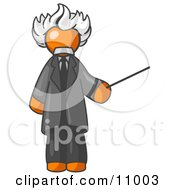 Orange Man Depicted As Albert Einstein Holding A Pointer Stick Clipart Illustration