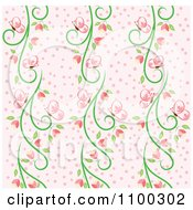 Clipart Seamless Pink And Green Butterfly And Vine Floral Background Pattern 1 Royalty Free Vector Illustration by Cherie Reve