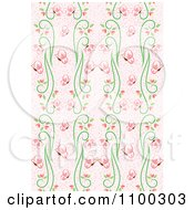 Clipart Seamless Pink And Green Butterfly And Vine Floral Background Pattern 2 Royalty Free Vector Illustration by Cherie Reve