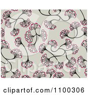 Clipart Seamless Pink Brown And Taupe Floral Ginkgo Biloba Background Pattern Royalty Free Vector Illustration by Cherie Reve