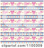 Clipart Pink Elephant Bow Heart And Beige Pattern Royalty Free Vector Illustration by Cherie Reve
