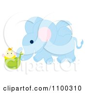 Clipart Winged Blue Elephant Delivering A Baby Royalty Free Vector Illustration