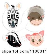 Zebra Monkey Skunk And Cat Faces