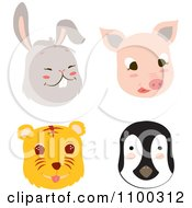 Clipart Rabbit Pig Tiger And Penguin Faces Royalty Free Vector Illustration by Cherie Reve