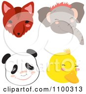 Clipart Fox Elephant Panda And Duck Faces Royalty Free Vector Illustration by Cherie Reve