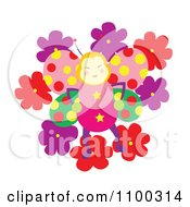 Clipart Happy Butterfly With Polka Dot Wings On Flowers Royalty Free Vector Illustration by Cherie Reve