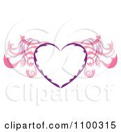 Purple Heart Frame With Pink Wings