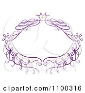 Purple Floral Frame With Sparkles