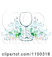 Clipart Wine Glass Frame With Flourishes Royalty Free Vector Illustration