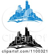 Clipart Blue And Black And White City Skylines Royalty Free Vector Illustration by Vector Tradition SM