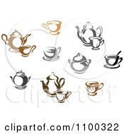 Clipart Brown Black And White And Gray Tea Icons Royalty Free Vector Illustration