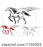 Clipart Red Gray And Black Horses Running Royalty Free Vector Illustration