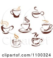 Clipart Steamy Brown Coffee Icons 5 Royalty Free Vector Illustration