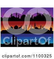 Purple Orange And Blue Banners With Silhouetted Mosques